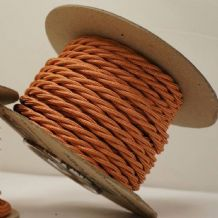 TWIST 2 Core Braided Fabric Cable Lighting Lamp Flex Vintage - RAYON COPPER